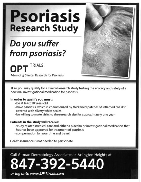 Psoriasis Research Study flyer